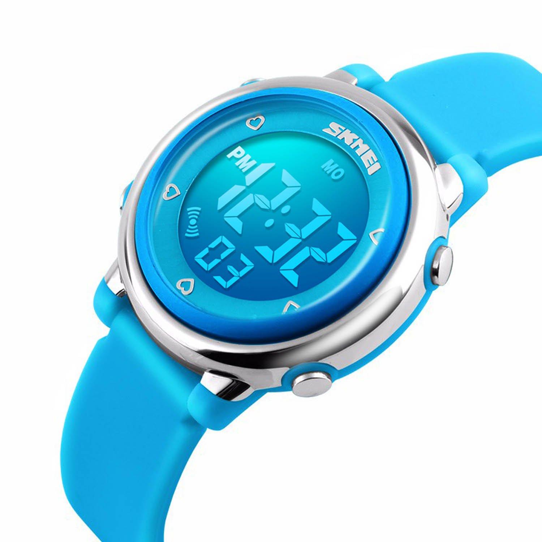 Kids Digital Sport Watch, Boys Sports Outdoor Watches, Girls LED Waterproof Electrical Watch with Alarm Children Stopwatch - Blue