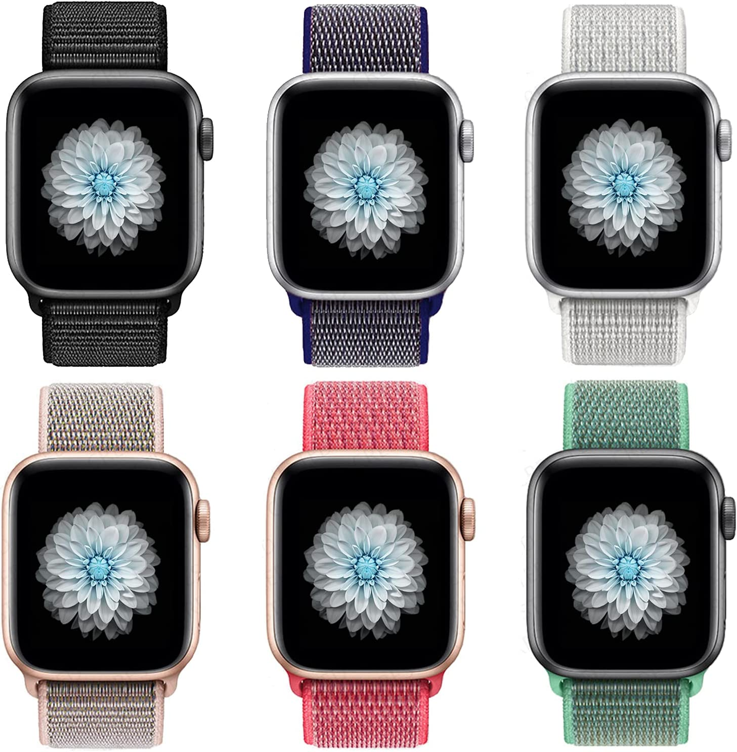 HEJINYU Compatible with Apple Watch Band 38mm 40mm 42mm 44mm, Soft Breathable Lightweight Bracelet Replacement Wrist Strap Compatible with iWatch Series 6 5 4 3 2 1 SE