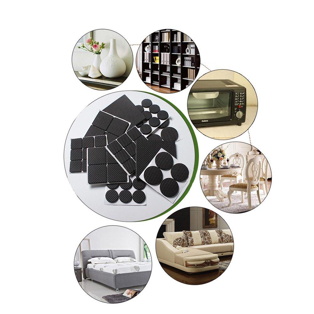 quadrato nero Clispeed 30pcs feltro mobili pastiglie antiscivolo pads auto piano silenzioso protezioni piedi copertura per mobili sedia da tavolo 3x3 cm