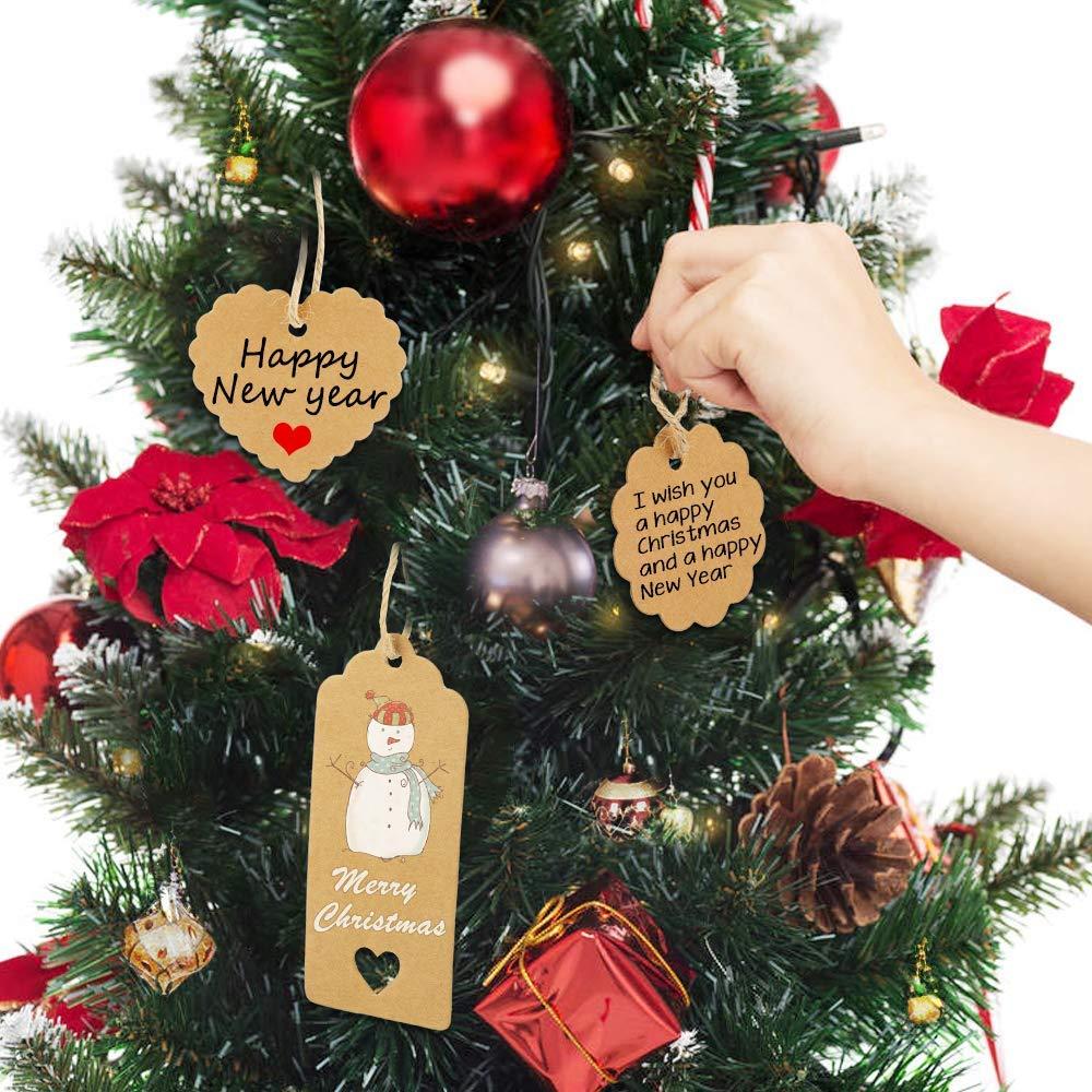 300 pezzi etichette in carta kraft etichette cartoncino Craft Hang Tags bagagli Etichetta Vuoto Mestiere con iuta 100 m per Matrimonio Battesimo Natale Compleanno fai da te Vegena Etichette Regalo