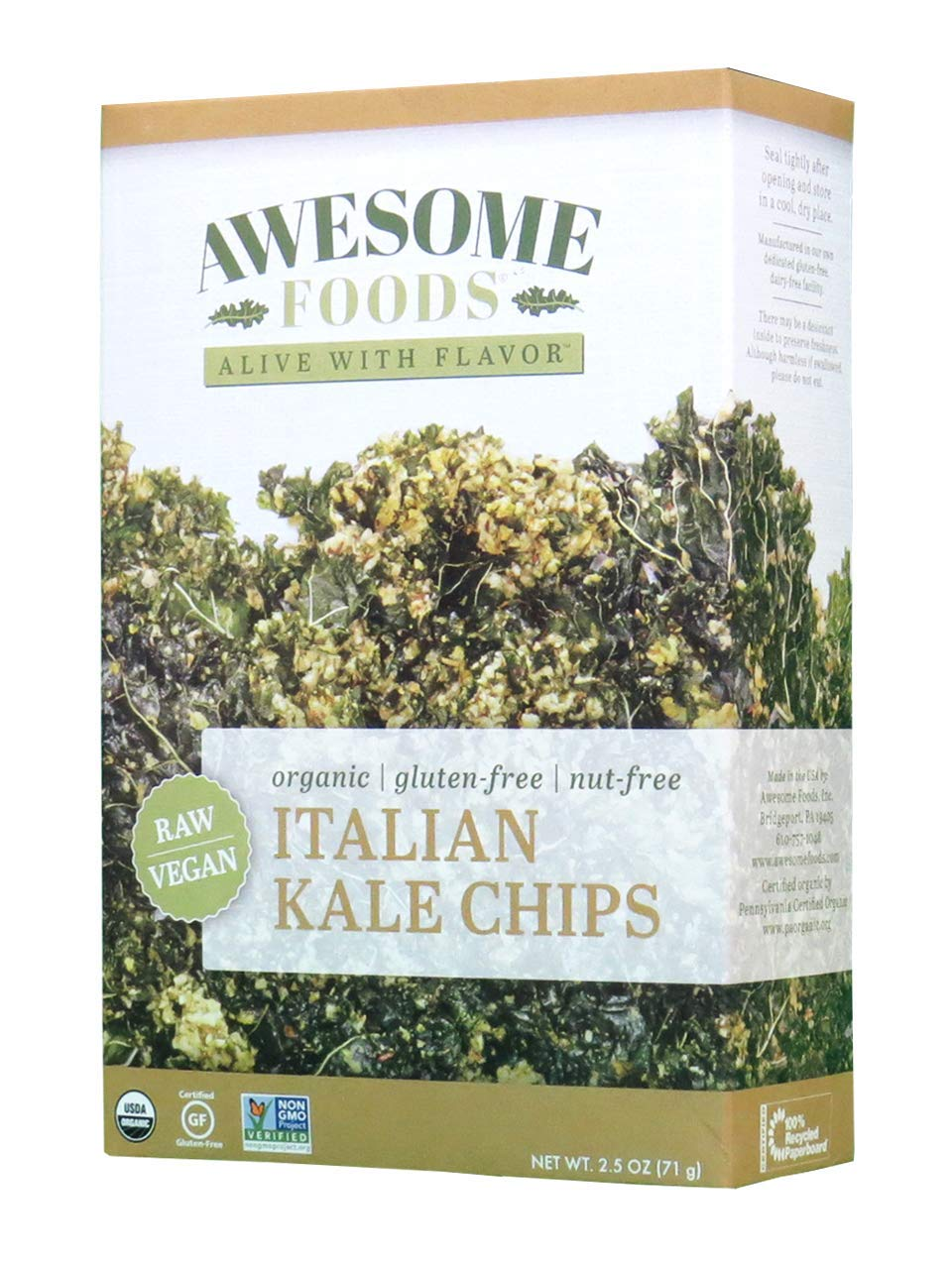 Awesome Foods, Organic, Gluten-Free, Plant-based, Non-GMO, Italian Kale Chips, 6 Pack