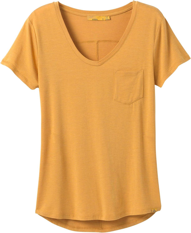 prAna Women's Standard Foundation Short Sleeve Vneck Golden Sky Heather