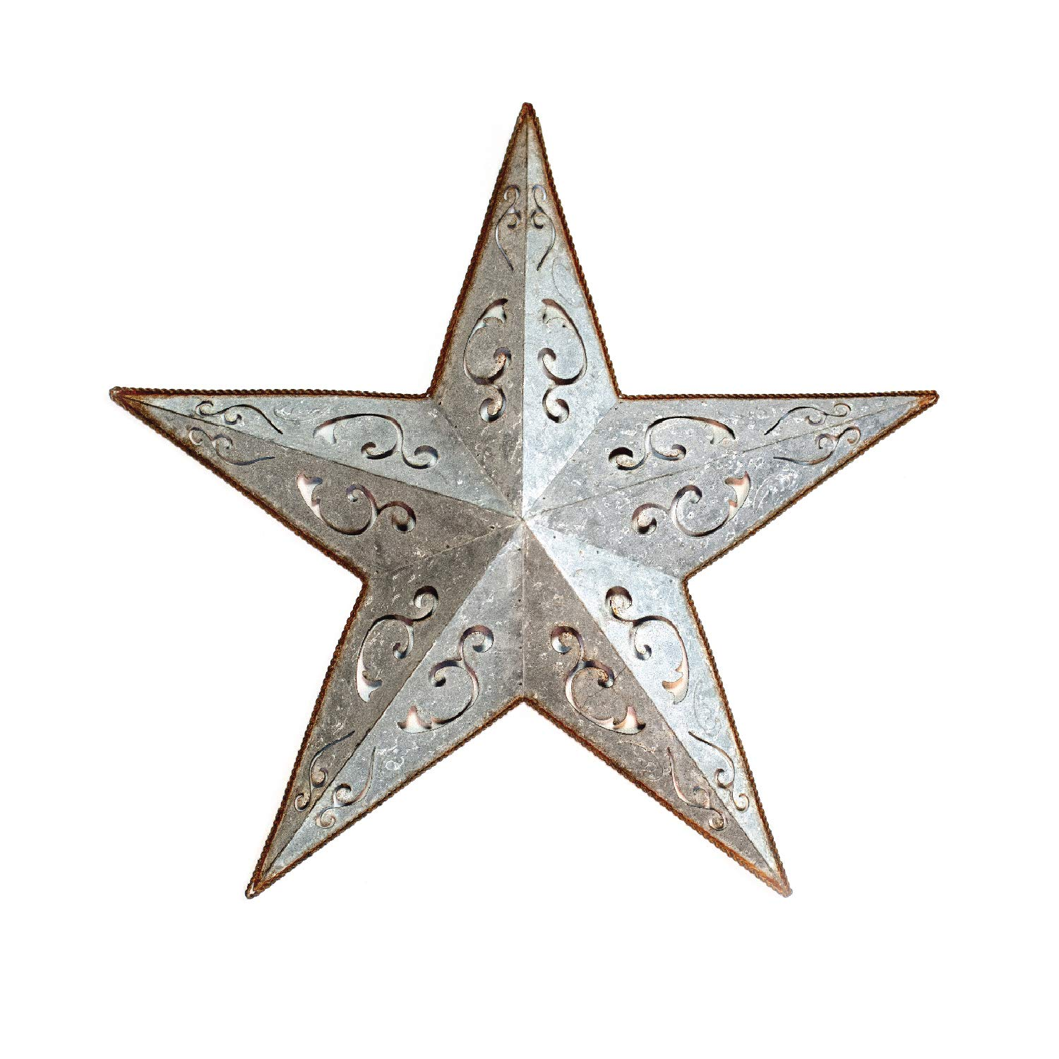 GALVANIZED METAL LACY BARN STAR 24'' -rustic gray zinc cut out tin country indoor outdoor Christmas home decor. Interior exterior lacey tin stars decorations for house walls fence porch. Quality gift