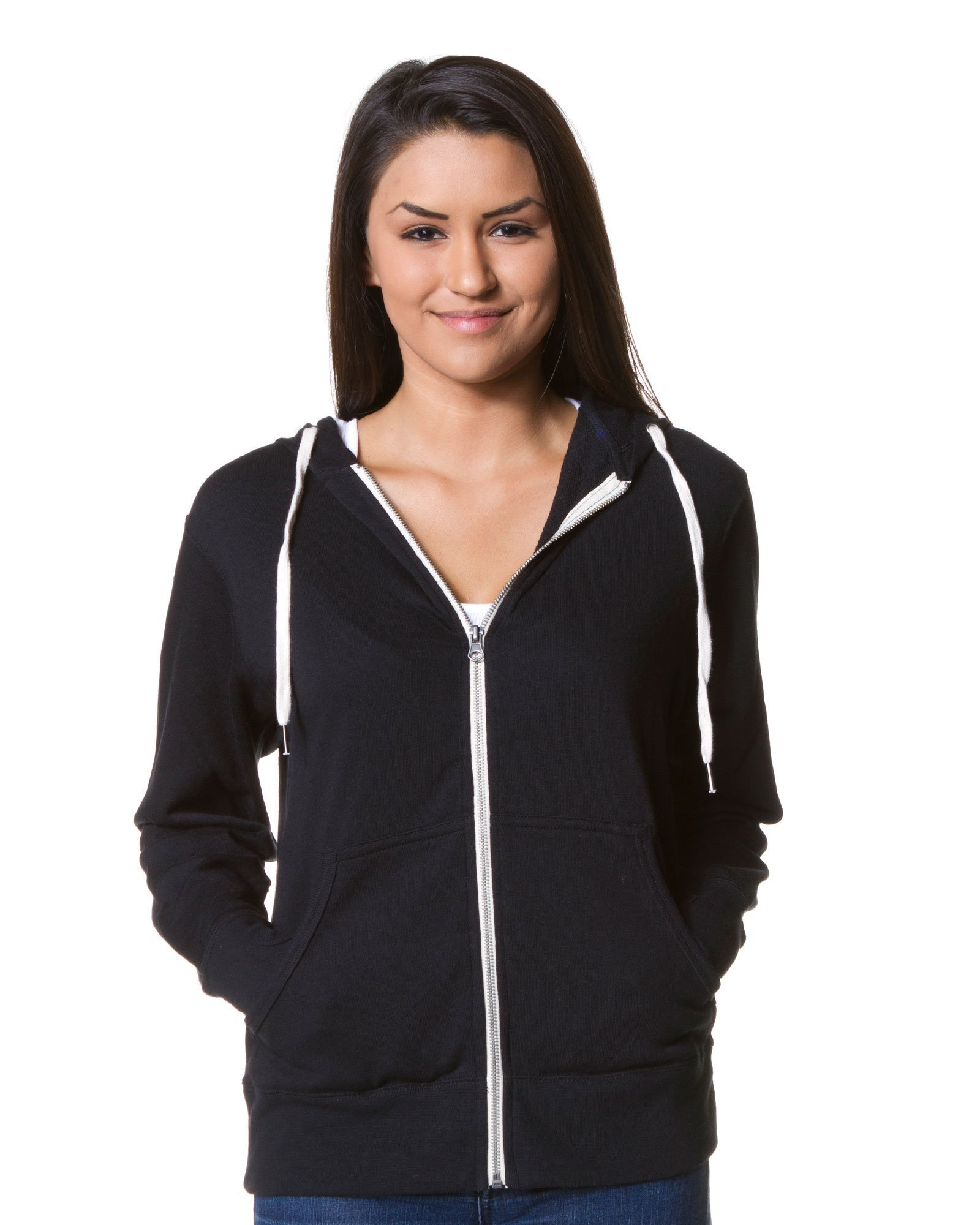 Slim Fit French Terry Lightweight Zip Up Hoodie for Women and Men XS Solid Black