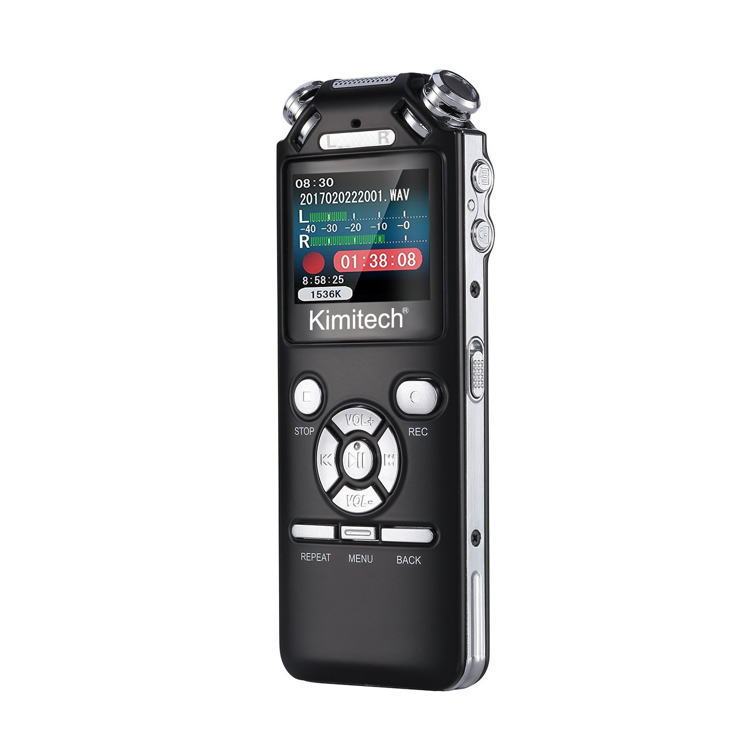 Digital Voice Recorder, Kimitech 8GB Dictaphone-Sound Recorder with USB and OLED Bright Display, MP3 Player, Voice-Activated/Stereo One Touch Recording/A-B Repeat/PC compatible/Noise Cancelling