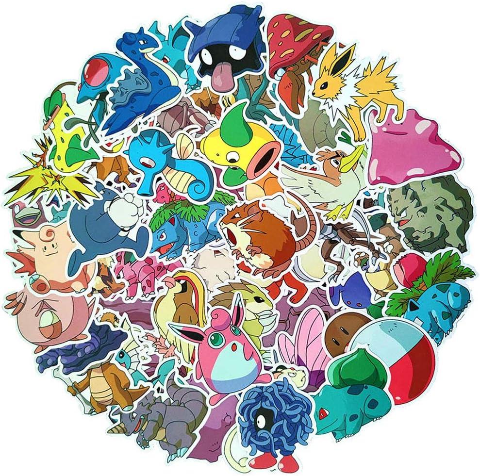 Ratgoo 80Pcs Cute Cartoon Anime Waterproof Vinly Graffiti Stickers for Pokemon,Stickers for Water Bottles Laptop MacBook Luggage Flasks Notebook Snowboard Bike,Stickers for Kids Teens Boys Girls