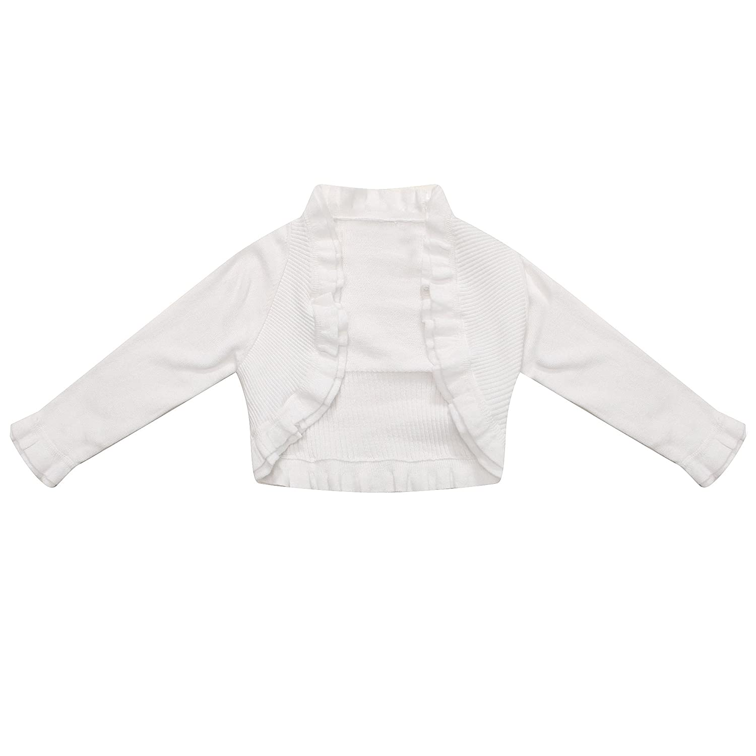 Richie House Girls' Cardigan Sweater with Ruffled Collar and Bottom RH1585