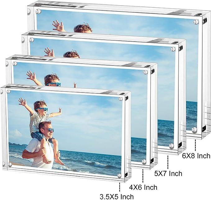 LileZbox Marco de Fotos de acrílico, Cuadro, Soporte con imanes, sostiene Fotos de 4 x 6 Pulgadas, 10 mm + 10 mm de Grosor Transparente (10x15 CM-5 Paquetes): Amazon.es: Hogar