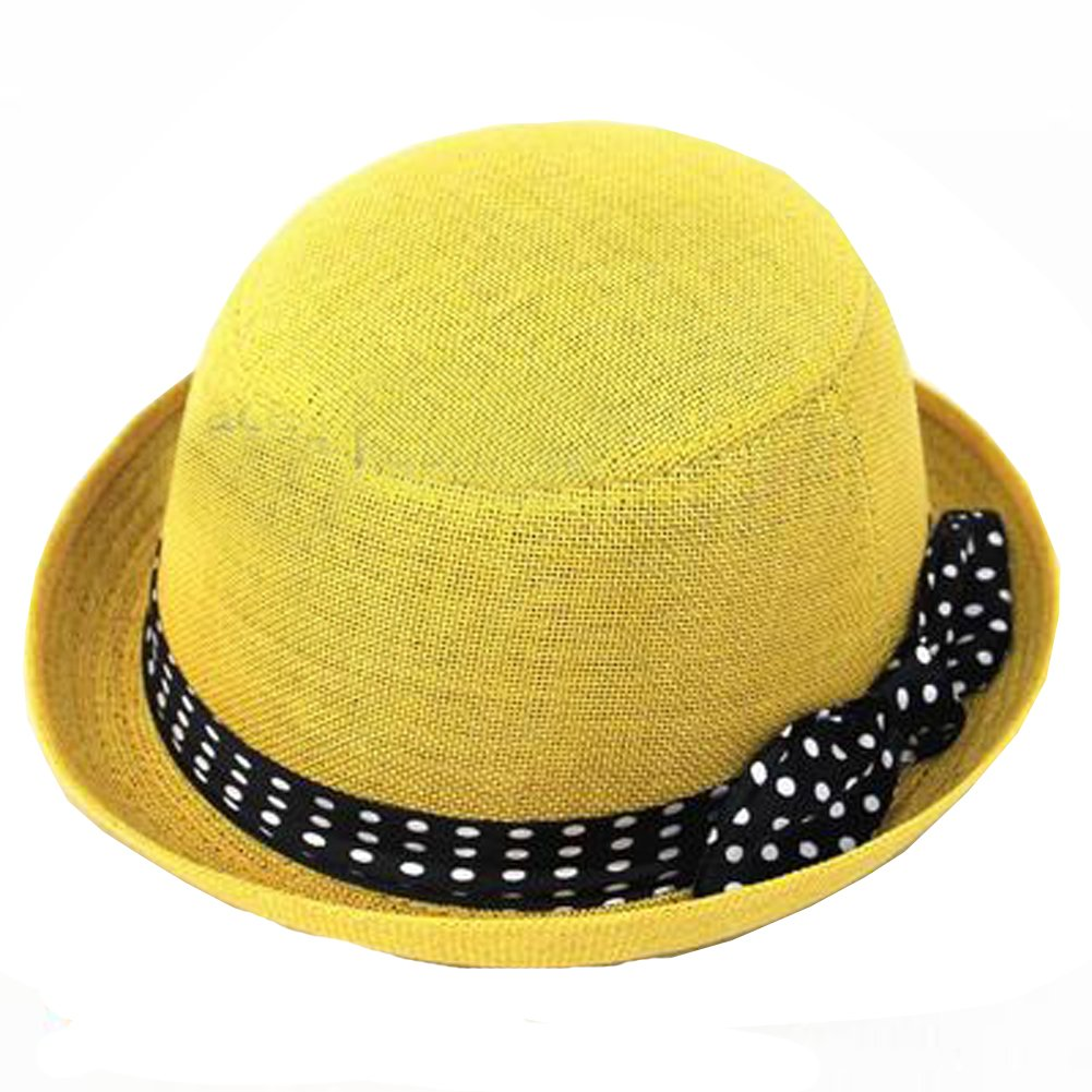 Womens Fedora Hats Bowknot Summer Straw Hat Roll Brim Bowler Derby Hat (Yellow)