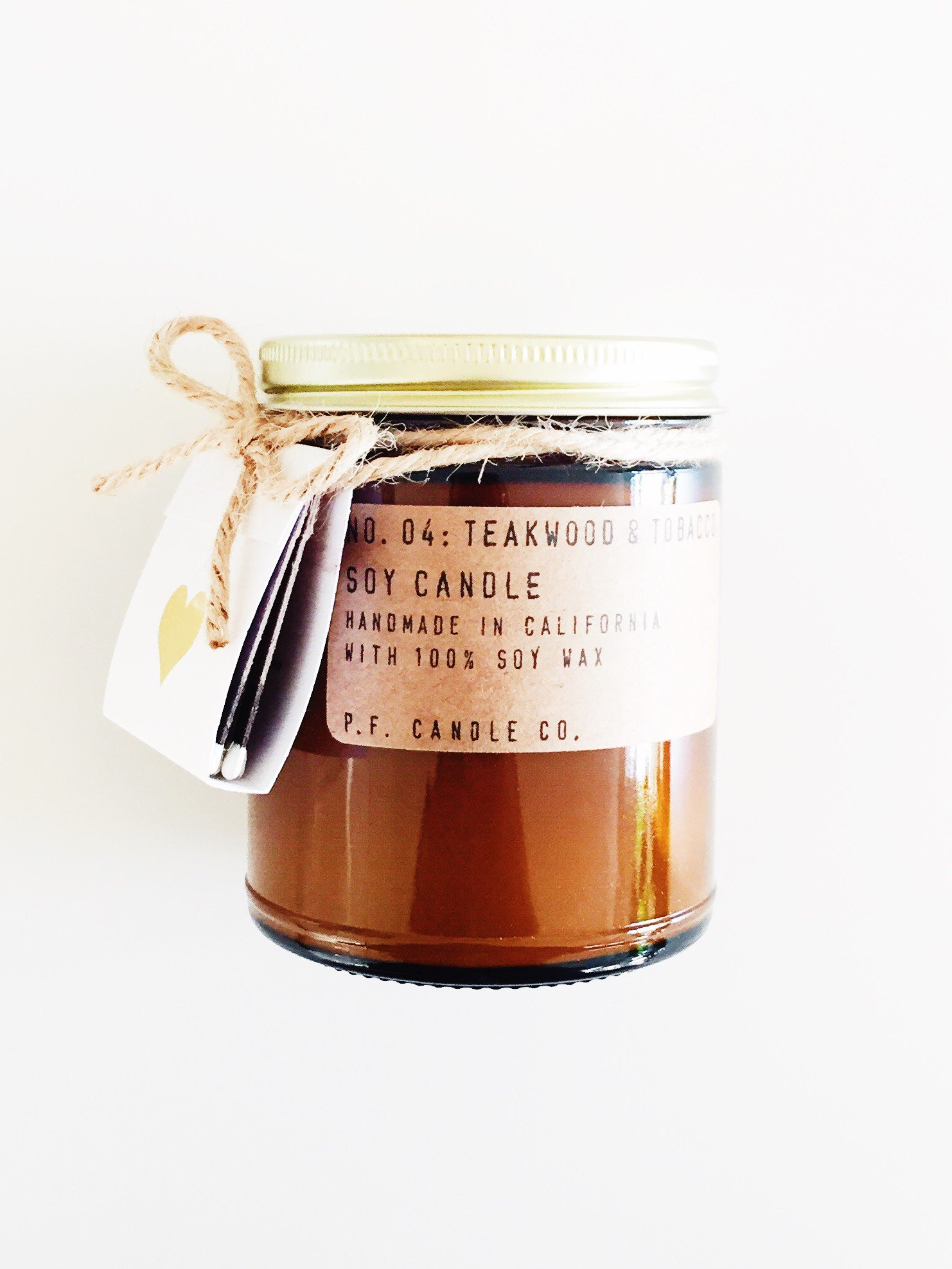 P.F. Candle Co. No. 04 Teakwood & Tobacco 7.2 oz. Scented Soy Candle and Matchbook