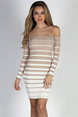 2107341645e Babe Society Women s Taupe   Striped Off Shoulder Sweater Dress Medium
