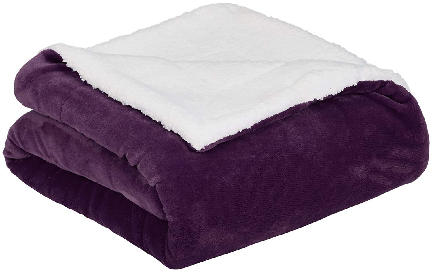 AmazonBasics Soft Micromink Sherpa Blanket - Throw, Plum