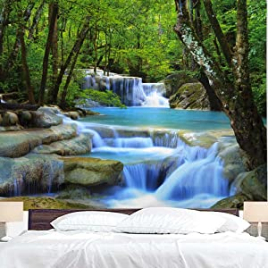 "BJYHIYH Extra Large Forest Tapestry Wall Covering Waterfall Nature Tapestry Landscape Tapestries for Bedroom Living Room Dorm Decor (90.6""×59.1"")"