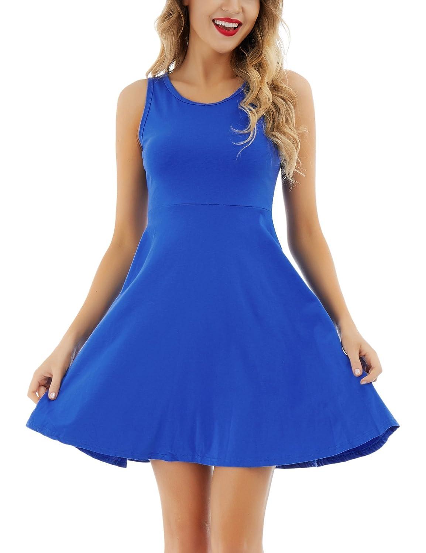 bluee Uniboutique Women's Sleeveless Round Neck Summer Beach Midi ALine Flared Tank Dress