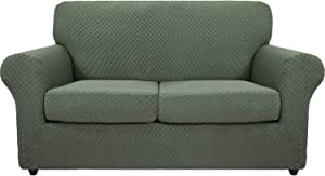 MAXIJIN 3 Piece Newest Jacquard Couch Covers for 2 Cushion Couch Stretch Non Slip Love Seat Couch Cover for Dogs Pet Friendly Elastic Furniture Protector Loveseat Slipcovers (Loveseat, Army Green)