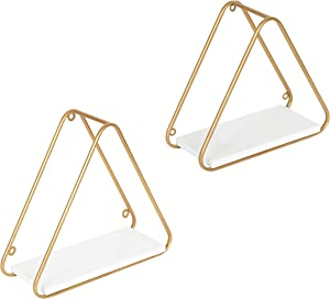 Kate and Laurel Tilde Mid-Century Accent Shelf Set, Set of 2, White and Gold, Modern Geometric Wall Shelves