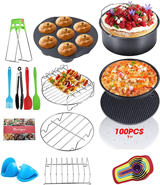 Jorunhe Air Fryer Accessories 16pcs with Recipe Cookbook Rust Proof 7'' Cake Barrel,100pcs Air Fryer Liners,Silicone Cupcake Mold,Plate Gripper and so on,Deluxe Deep Fryer Accessories Set of 16-7inch