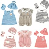 DC-BEAUTIFUL 6 Set Girl Dolls Clothes Gift for 14 Inch 18 Inch Newborn Baby Dolls, Includes Doll Outfits Dress Hat Socks, Tot