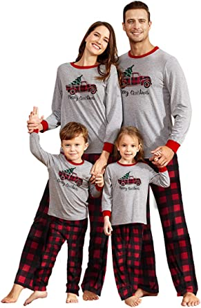 Matching Family Pajamas Sets Merry Christmas Letter Printed Reindeer Long Sleeve Red Plaid Pants Xmas Loungewear