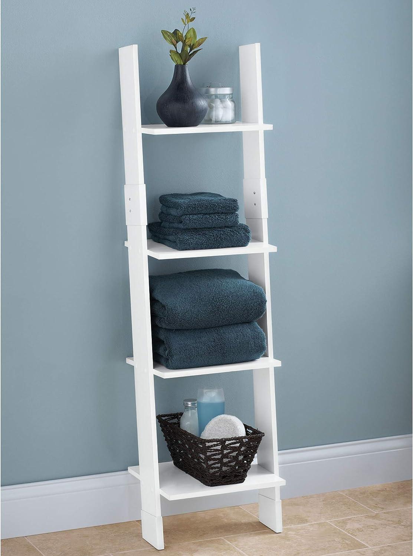 Zenna Home Ladder Style Bathroom Linen Tower, White: Home & Kitchen