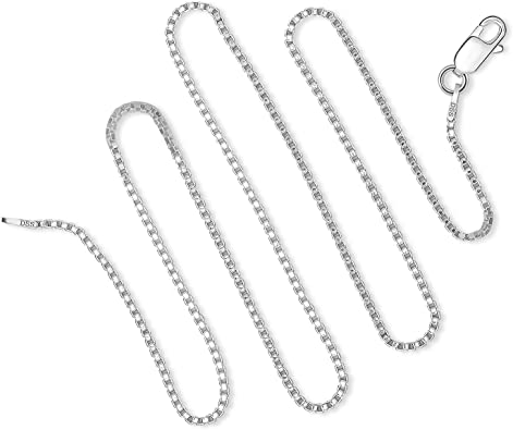 24 Length 925 Sterling Silver 2mm Round Box Chain Necklace