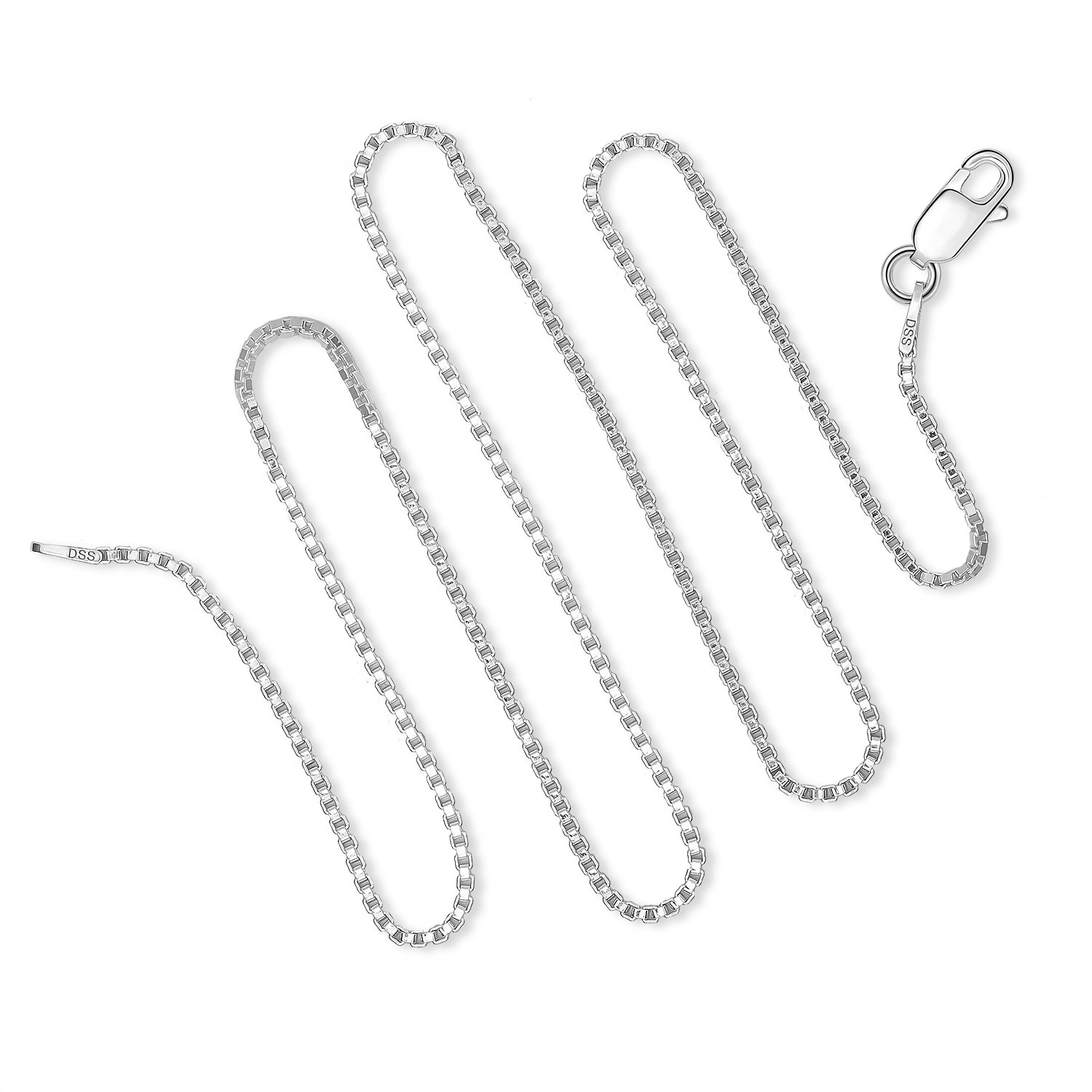 925 Sterling Silver 1.5 MM Box Chain Italian Necklace Sturdy Lightweight - Lobster Claw Clasp 24 Inch