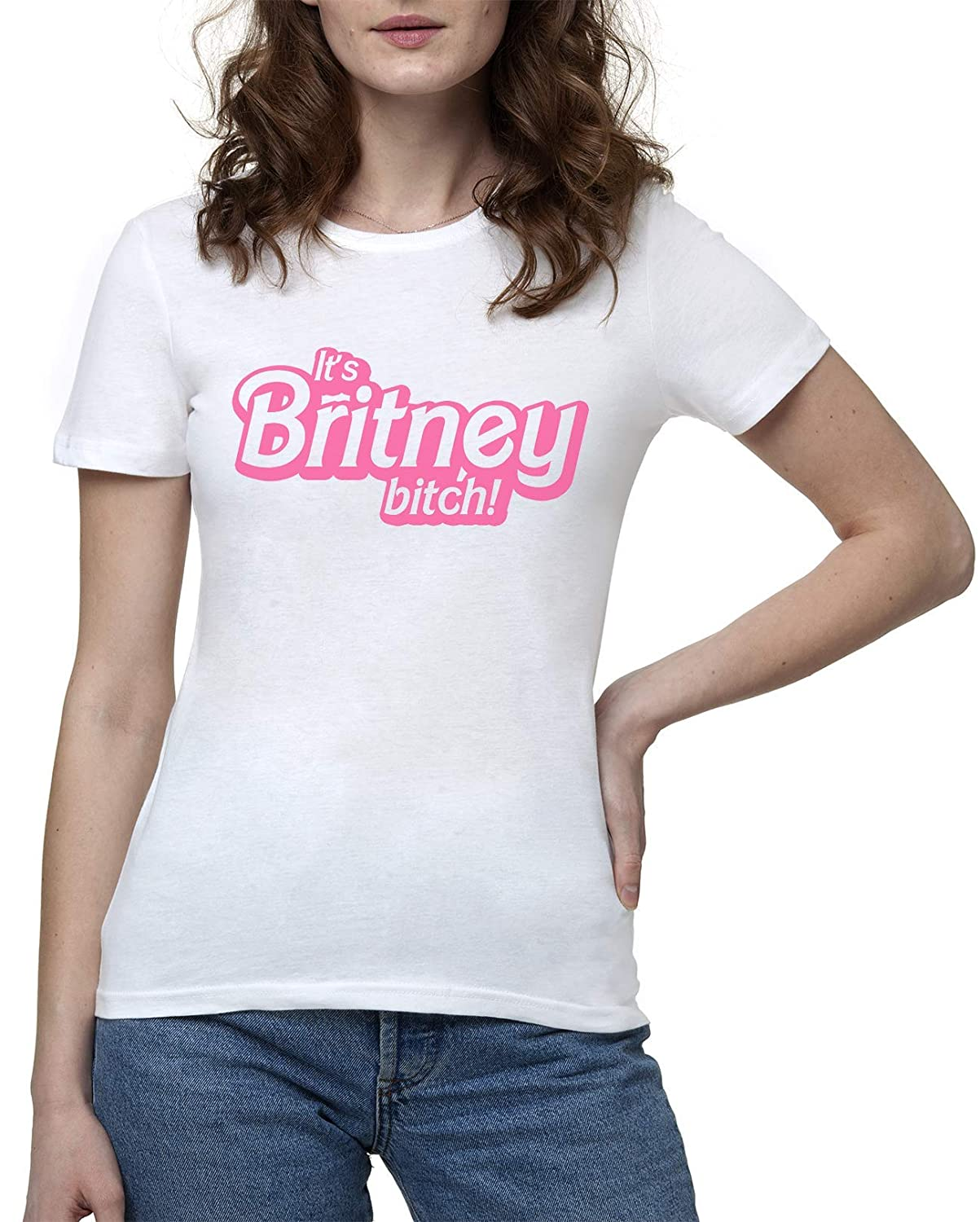 Womens White T-Shirt Tshirt T Shirt Its Its Britney Bitch Donna Maglietta Bianco
