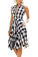 Bdcoco Women's Sleeveless Plaids Irregular Hem Casual Shirt Dress
