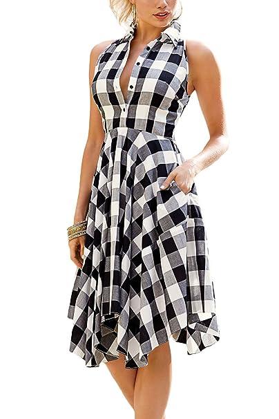 17db285e318 Bdcoco Women s Sleeveless Plaids Irregular Hem Casual Shirt Dress ...