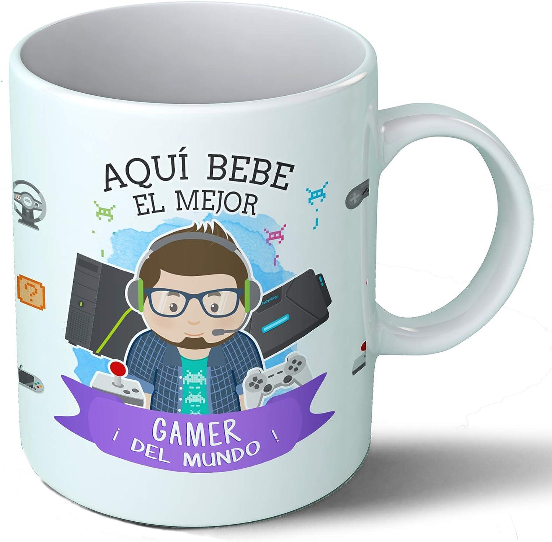 Planetacase Taza Desayuno Aquí Bebe el Mejor Gamer del Mundo Regalo Original Videojuegos Ceramica 330 mL: Amazon.es ...