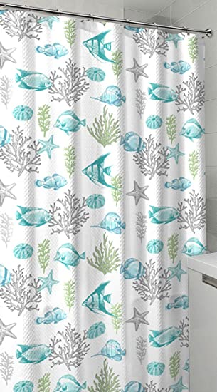 Ocean Sea Life Fish Theme Canvas Fabric Shower Curtain Teal Blue Green