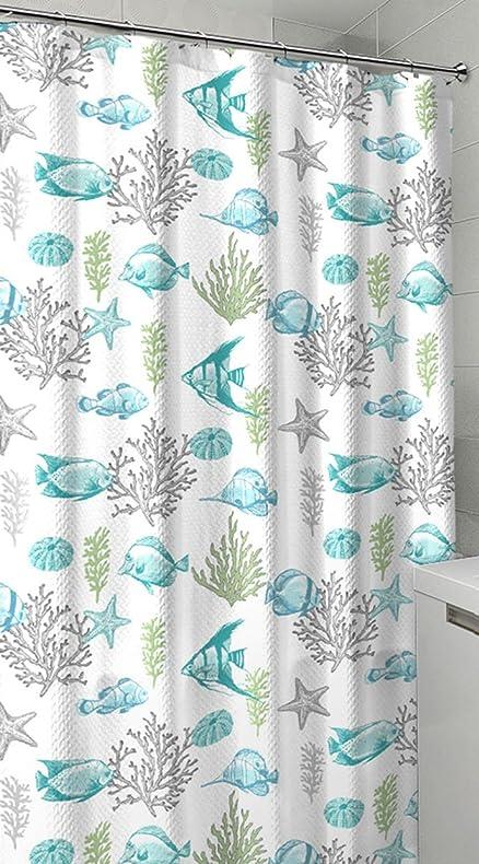 Amazon.com: Ocean Sea Life Fish Theme Canvas Fabric Shower Curtain ...