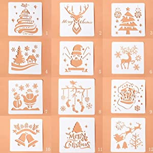 CHIOUPA 12Pcs Christmas Stencils Template,30cm/5.1 inch Reusable Creative Design Xmas Theme Plastic Craft Food Decorating for Scrapbook, Notebook,Christmas Cookie Cake Baking Decoration Supplies
