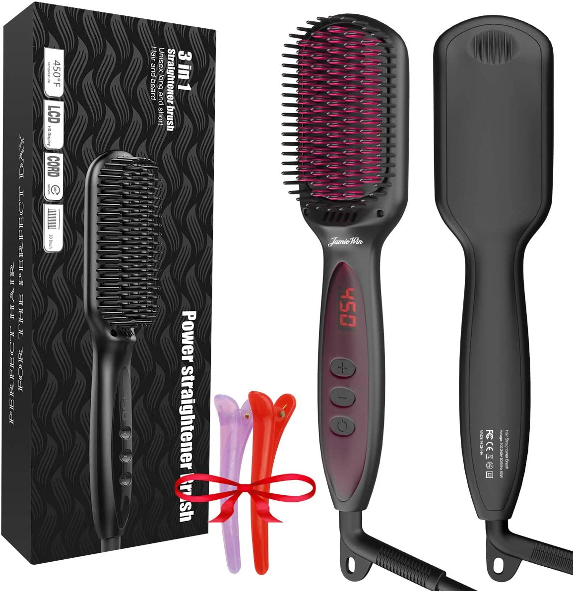 JAMIEWIN Hair Straightener Brush, Anti-Scald Ionic Hair Straightening Brush, Straightening Comb with Fast MCH Ceramic Heating, Hot Brush Hair Straightener, Auto Off, Dual Voltage