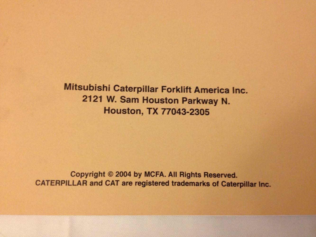 CAT LIFT TRUCKS OPERATION & MAINTNEANCE MANUAL 99710-82110 (P300