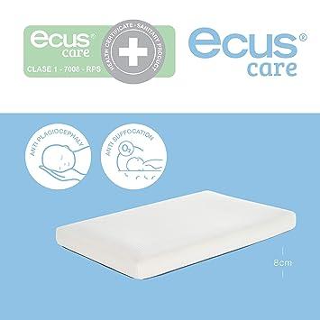 Ecus Care MCAR075052 - Colchón de minicuna anti plagiocefalia, 75 x 52, color blanco