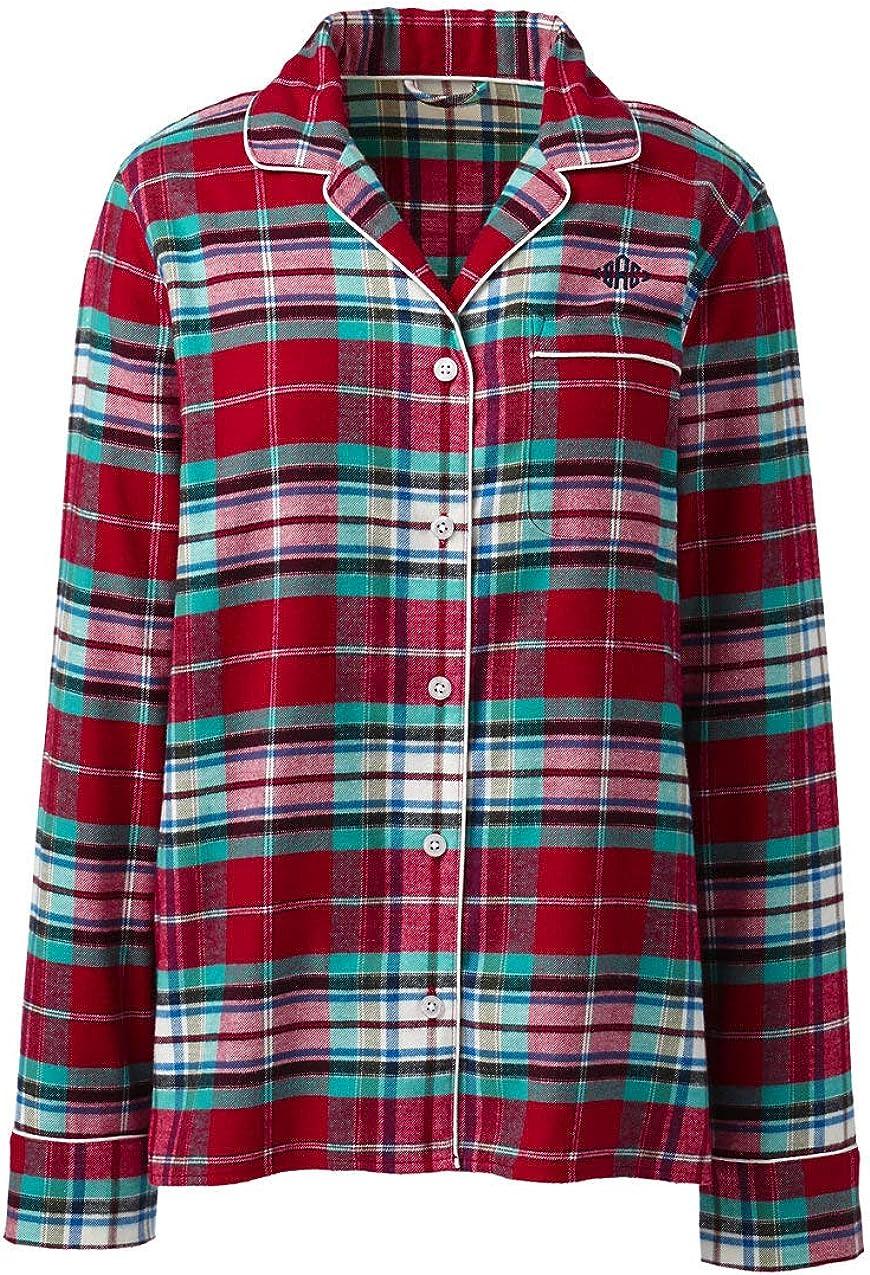 Lands End Womens Long Sleeve Flannel Sleep Top Peeking Cows Plus 1x