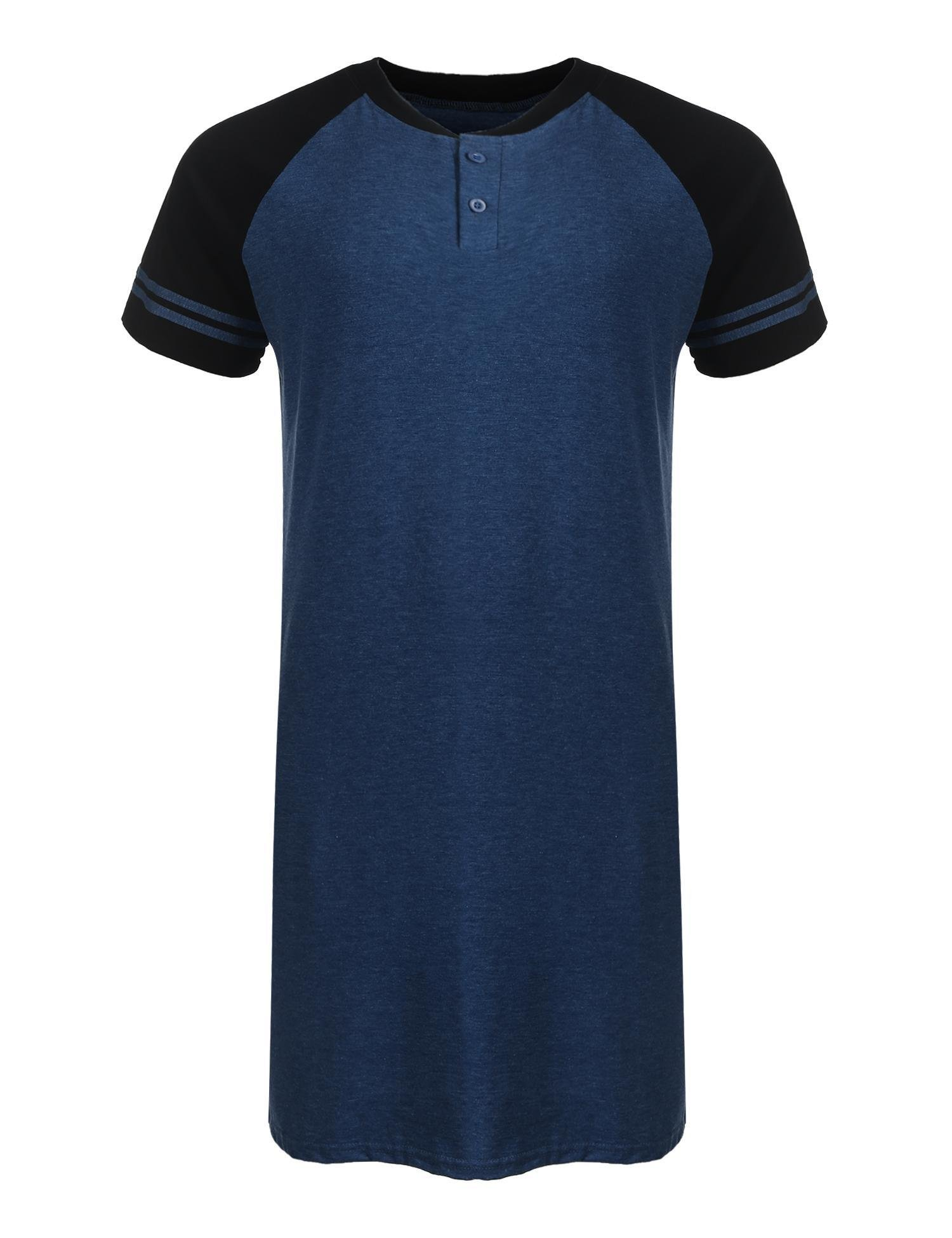 Imposes Cotton Sleepwear For Men Sleep Shirt Raglan Sleeve Nightwear Long Lightweight Pajama (XXL,Blue)