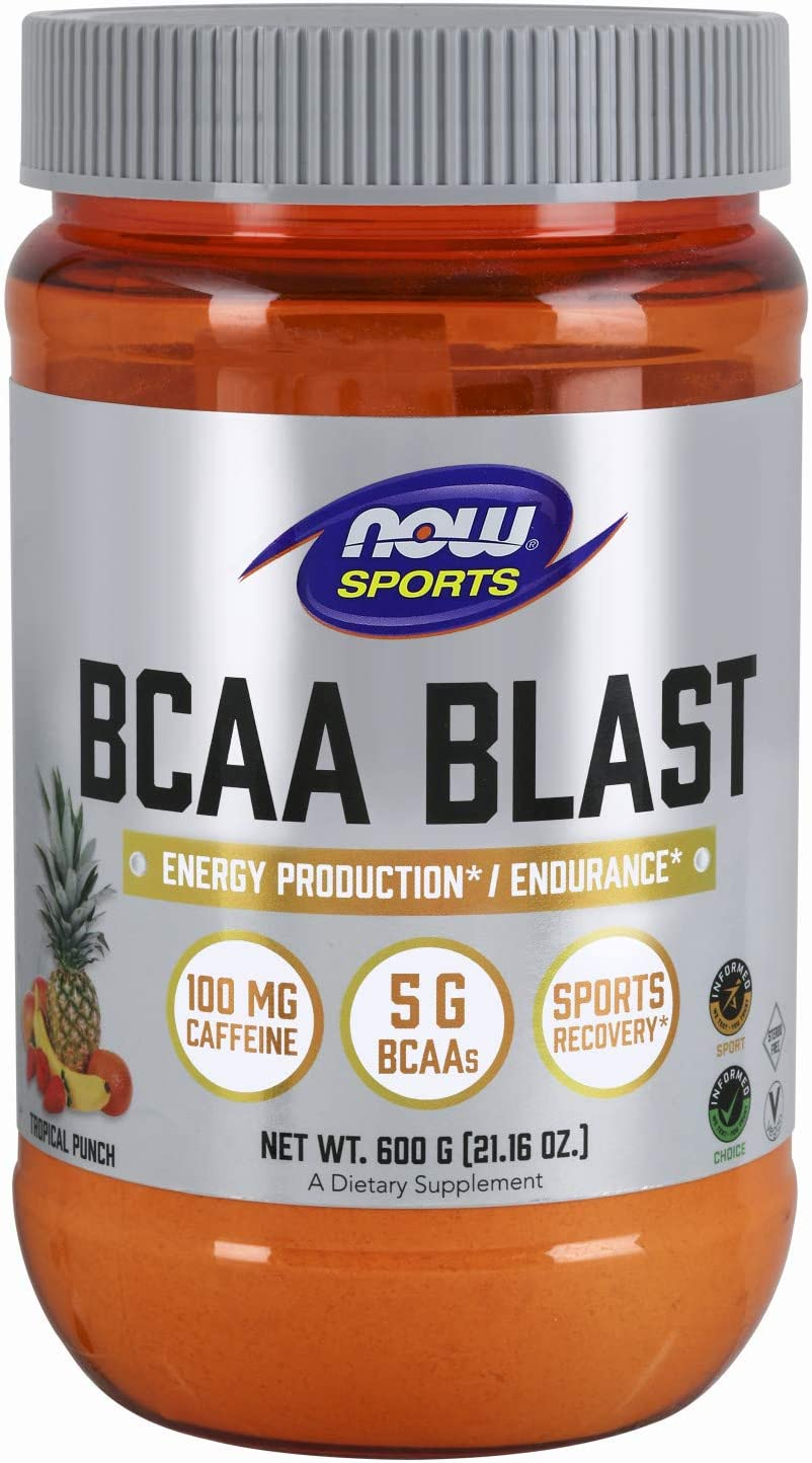 NOW Sports Nutrition, BCAA Blast Powder, 5 g BCAA, 100 mg Caffeine, Tropical Punch, 600-Grams