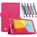 LG G Pad 7.0 Leather Case, TDA(TM) Slim Folding PU Leather Cover Case with Auto Sleep/Wake Feature for LG G Pad V400/V410 (LTE)/VK410/UK410/LK430 (G Pad F7.0) 7 Inch Tablet With 1 Stylus (Hot Pink)