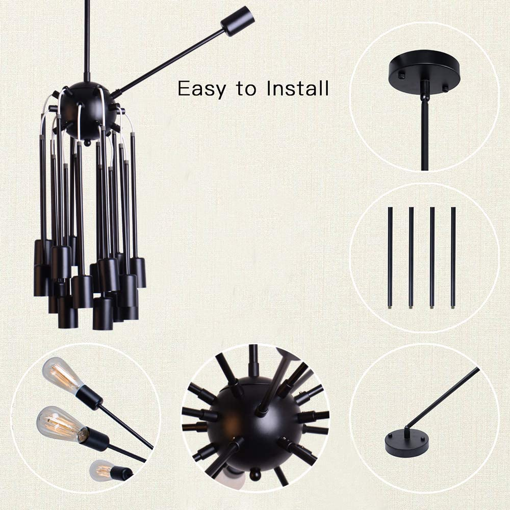 Sputnik Chandeliers 18 Lights Modern Pendant Lighting Industrial Vintage Ceiling Light Fixture, Black