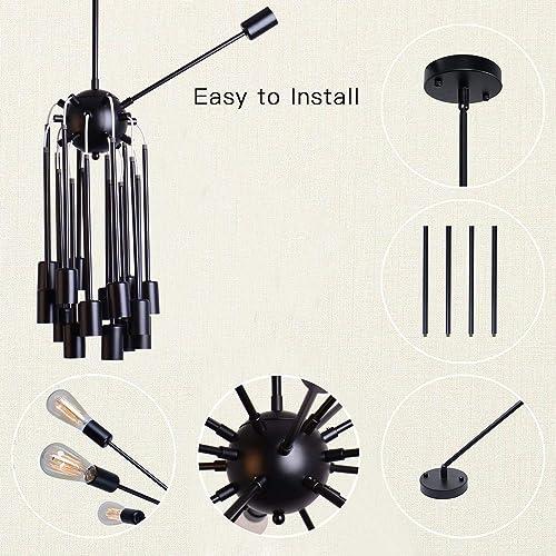 Sputnik Chandeliers 18 Lights Modern Pendant Lighting Vintage Ceiling Light Fixture, Black
