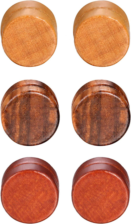 JewelryWe 3Pairs Wood Earrings Set Classic Wooden Non Pierced Magnetic Earrings for Men Women