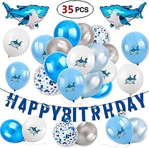 Konsait Shark Decoration for Kids Happy Birthday Banner Latex Balloon Confetti Balloon Foil Mylar Balloons Shark Zone Under The Sea Ocean Shark Themed Birthday Bay Bday Decor (35Pack)