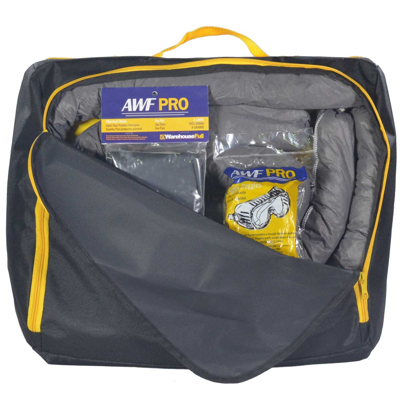 Portable Universal Spill Kit, Contains 20 Sorbent Pads, 3 Sorbent Socks, Disposal Bags, Goggles and Chemical Gloves. Packed in a HD Nylon Bags
