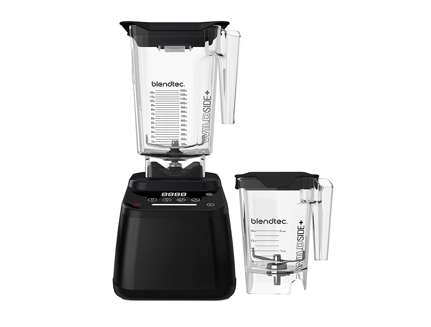 Blendtec Designer 625 Blender - WildSide+ Jar (90 oz) and Mini WildSide+ Jar (46 oz) BUNDLE - Professional-Grade Power - 4 Pre-Programmed Cycles - 6-Speeds - Sleek and Slim - Black