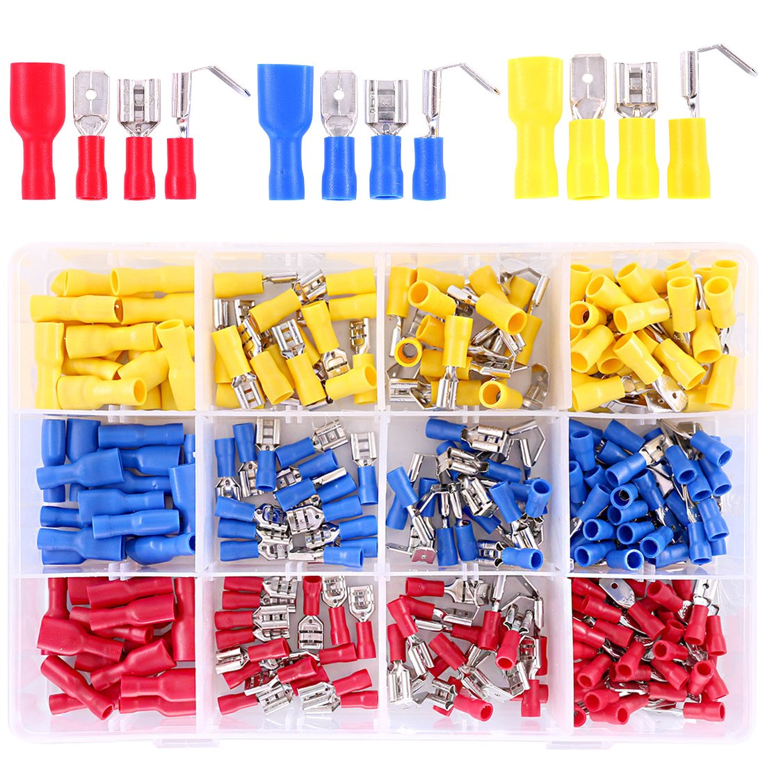 Hilitchi 255Pcs 22-16/16-14/12-10AWG Fully Insulated Female/Male Spade Quick Wire Crimp Terminals Connectors Kit by Hilitchi (Image #1)