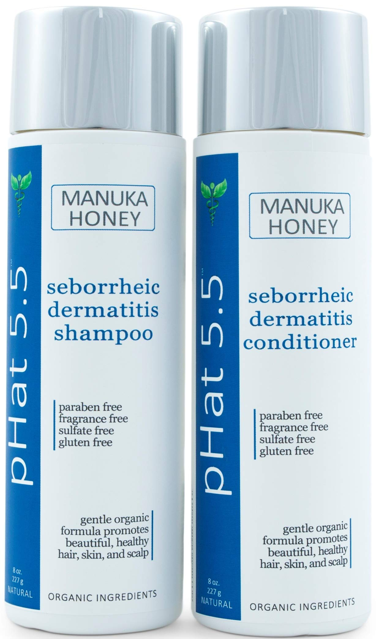 Sulfate Free Shampoo and Conditioner Set for Seborrheic Dermatitis Relief - Severe Dry & Itchy Scalp Treatment with Manuka Honey, Aloe Vera & Coconut Oil - Safe for Color Treated Hair (8 oz) by pHat 5.5