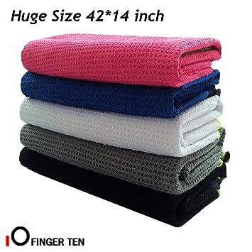 Toalla de golf para bolsa de golf con clip, 42 x 14 pulgadas, toalla
