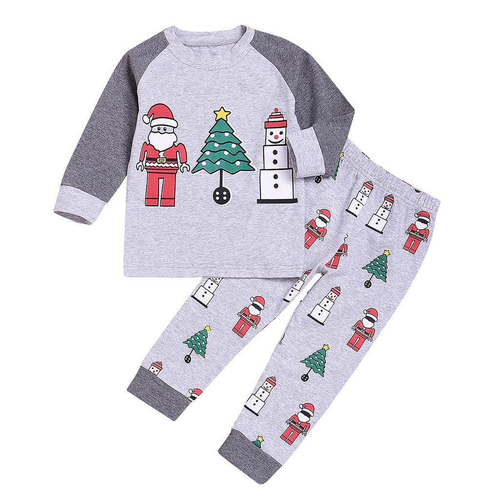 Younger star Christmas Sleepwears Unisex Little Boys Girls Pjs Long Kid Holiday Pajamas Sets (Grey, 6-7 Years)